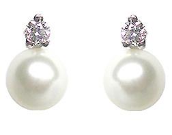 Orecchini IKI in oro bianco 18kt con Perle Coltivate Giapponesi Akoya 6.00mm e Diamanti