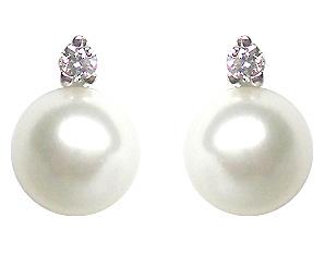 Orecchini IKI in oro bianco 18kt con Perle Coltivate Giapponesi Akoya 7.50mm e Diamanti