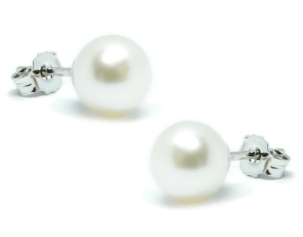 Orecchini IKI in oro bianco 18kt con Perle Coltivate Giapponesi Akoya 8-8.5 mm