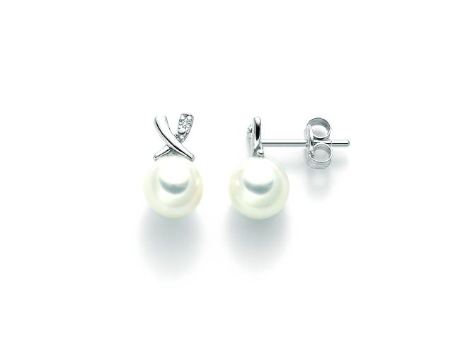 Orecchini Miluna con Perle e Diamanti in oro bianco PER2208X