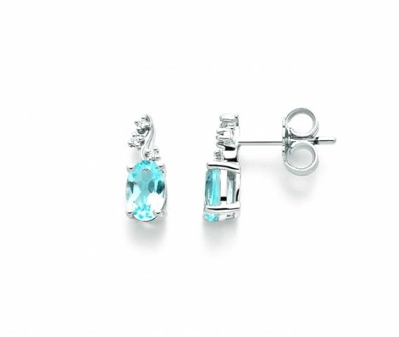 Orecchini Miluna con Topazio e Diamanti 0.03ct in oro bianco ERD2306X