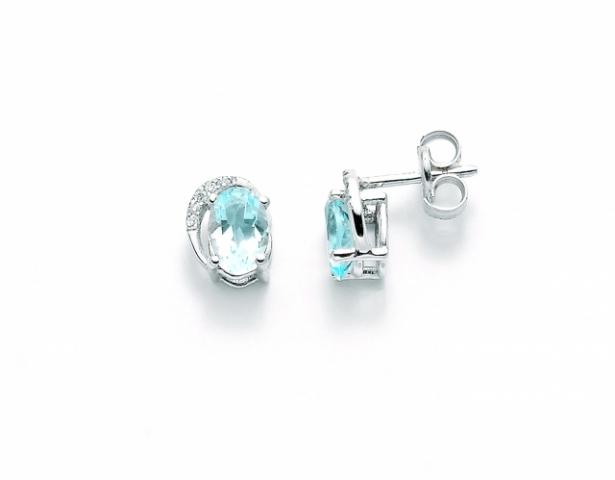 Orecchini Miluna in oro bianco con Topazio azzurro e diamanti 0.03ct ERD2243X