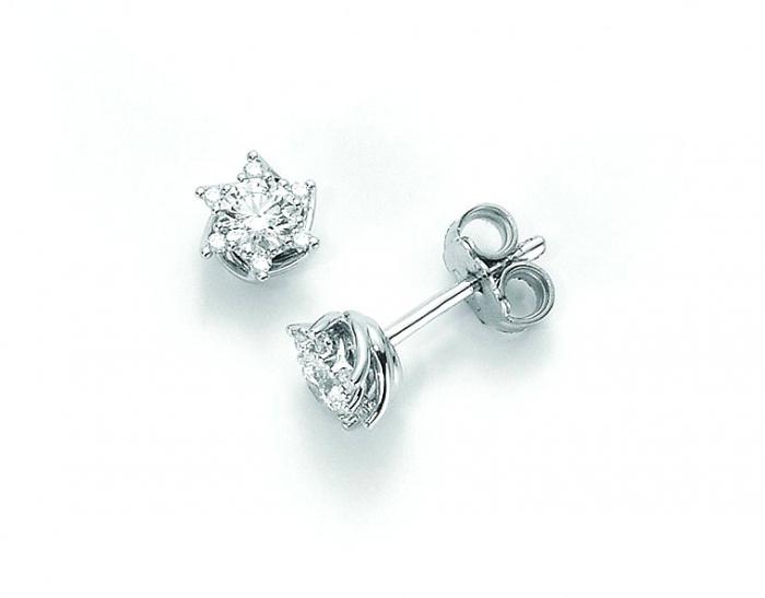 uomo varietà di disegni e colori genuino Orecchini Miluna Miss Italia punto luce con Diamanti Naturali 0.140ct in  oro bianco 18kt ERD5070