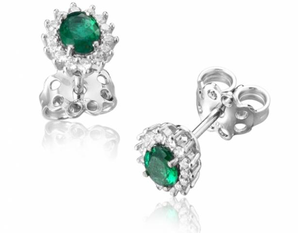 Orecchini Ovali Roger Gems con Smeraldi e Diamanti Naturali IF in oro bianco 18kt