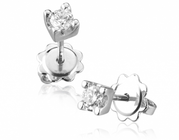 Orecchini Punto Luce a Griffe Roger Gems con Diamanti Naturali IF 0.10ct in oro bianco 18kt