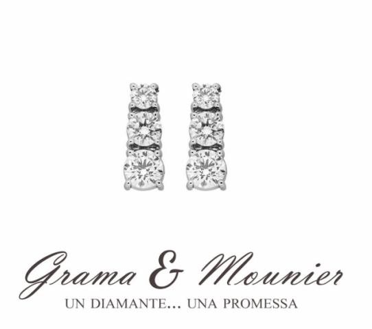 Orecchini Trilogy Grama & Mounier con Diamanti da 0.26ct in oro bianco 18kt GM086