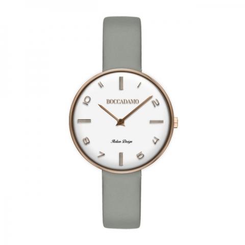 Orologio Boccadamo serie Pin Up cinturino in pelle grigia e quadrante bianco