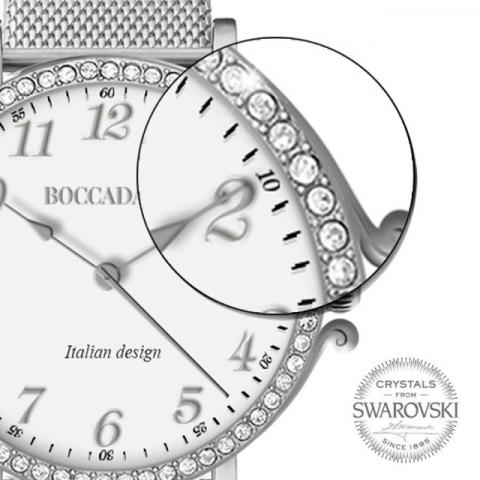 Orologio Boccadamo serie Princess con cinturino maglia Milano silver e ghiera di Swarovski