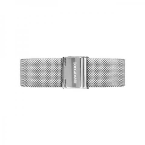Orologio Boccadamo serie Princess con cinturino maglia Milano silver, quadrante nero e ghiera di Swarovski