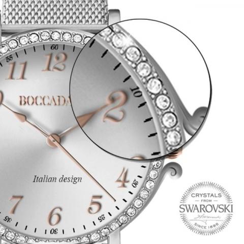 Orologio Boccadamo serie Princess con cinturino maglia Milano silver, quadrante silver e ghiera di Swarovski