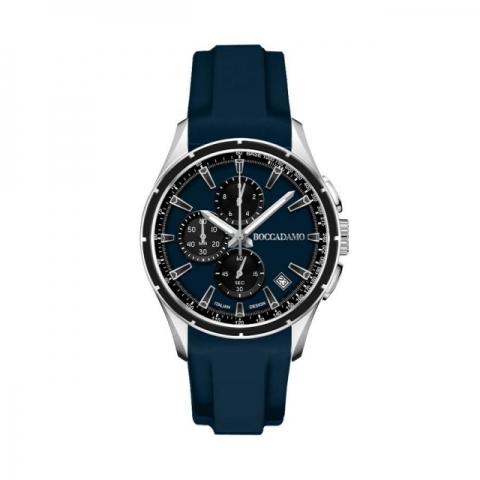 Orologio Boccadamo Uomo serie Aggresive Cronografo in silicone navy con quadrante blu