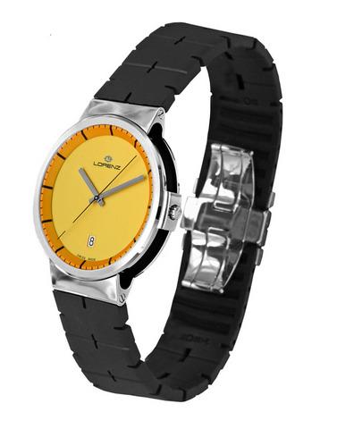 Orologio Lorenz Neos 25719CC quadrante giallo cassa acciaio e cinturino in caucciù