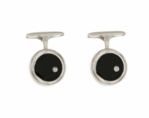18K White Gold Cufflinks with onyx and diamonds