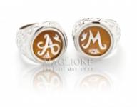GioielleriaMaglione.it - Anello Chevalier in argento 925% e Cammeo personalizzabile con iniziale del nome lavorato a mano