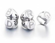 Silver Plated and Cubic Zirconia Letter Dimmi Milano Ring