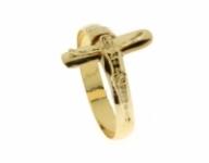 GioielleriaMaglione.it - Anello con Cristo in Croce in oro giallo 18kt