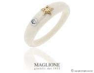 Anello Dalù in ceramica con colore a scelta, stella in oro bianco o giallo 18kt e diamante naturale