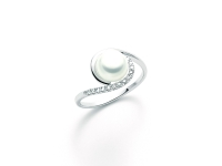 Anello Miluna con Perla e Diamanti in oro bianco PLI1549X