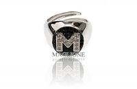 GioielleriaMaglione.it - Pinkie ring in 925 silver with letter A in cubic zirconia
