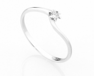 18K White Gold and 0.06ct Natural Diamonds Ring