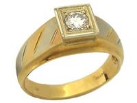 Anello Solitario uomo con Diamante Naturale IF 0.34ct in oro 18kt