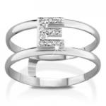 GioielleriaMaglione.it - VERA - 18k White Gold and E letter with Natural Diamonds Ring