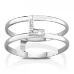 GioielleriaMaglione.it - VERA - 18k White Gold and L letter with Natural Diamonds Ring