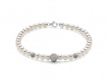 GioielleriaMaglione.it - 18K White Gold and White Pearls Bracelet MILUNA