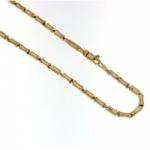 Catena vuota in oro giallo 18kt modello canna di bambù a 50 cm