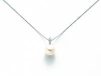 GioielleriaMaglione.it - 9K White Gold 0.021ct Natural Diamond with Pearl Pendant Necklace MILUNA