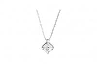 GioielleriaMaglione.it - 18K White Gold 0.25ct Natural Diamond Solitaire Pendant Necklace