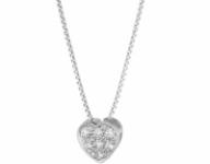 Catenina Roger Gems con Cuore e Diamanti IF 0.06ct in oro bianco 18kt