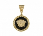 18k Yellow Gold and Onyx VERSACE Pendant