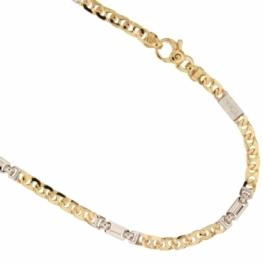 GioielleriaMaglione.it - Collana da uomo catena piena maglia traversino alternato in oro giallo e bianco 18kt