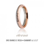 GioielleriaMaglione.it - Fede UNOAERRE modello ETERNA in oro bianco e rosa 18kt e diamanti collezione 9.0