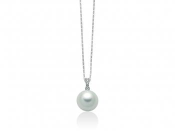 GioielleriaMaglione.it - Girocollo Miluna con Perla Naturale e Diamanti da 0.013ct in oro bianco PCL5501X