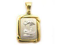 Medaglia Fonte Battesimale rettangolare in oro giallo e bianco 18kt