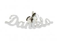 GioielleriaMaglione.it - Mono orecchino personalizzabile con nome in oro bianco 18kt