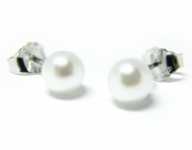 GioielleriaMaglione.it - Orecchini con Perle Naturali di Fiume 6-7 mm in argento 925%