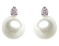 GioielleriaMaglione.it - Orecchini IKI in oro bianco 18kt con Perle Coltivate Giapponesi Akoya 7.50mm e Diamanti