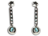 18K White Gold and Cubic Zirconia Earrings