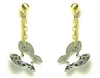 GioielleriaMaglione.it - Orecchini pendenti con farfalla in oro bianco e giallo 18kt