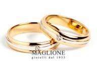 GioielleriaMaglione.it - Trasformazione Fedi Nuziali 25 anni con filo centrale in oro bianco e 2 diamanti