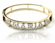 GioielleriaMaglione.it - Bracciale a Manetta rigida personalizzabile con nome in acciaio bianco o giallo e Swarovski